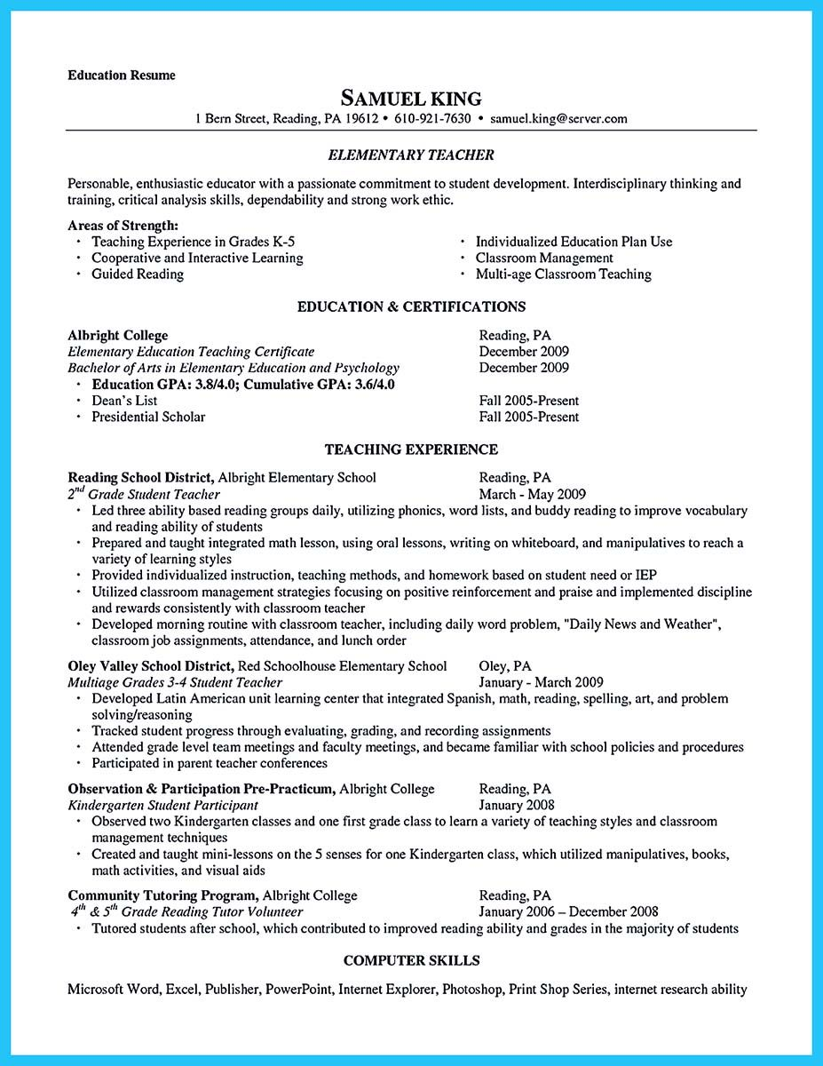 What Skills To Put On Resume There Are Several Parts Of Assistant Teacher Resume To Concern