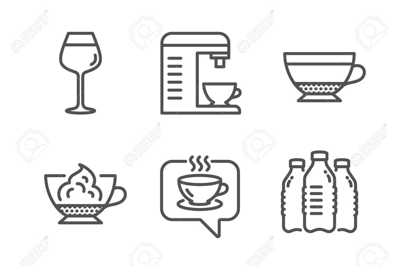 Coffee machine, Dry cappuccino and Coffee icons simple set. Bordeaux glass, Espresso cream and Water bottles signs. Cappuccino machine, Beverage mug. Food and drink set. Line coffee machine icon Illustration , #affiliate, #Bordeaux, #set, #glass, #cream, #Espresso #cappuccinomachine