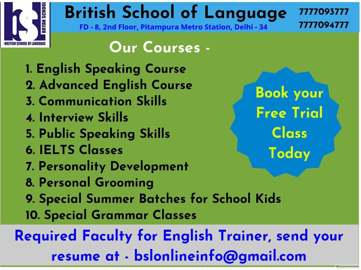 Best English Speaking Course (BSL) British School Of