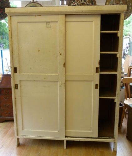 Large-Vintage-Old-Pine-Industrial-School-Art-Cupboard-