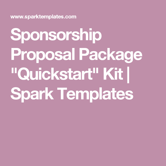 "Sponsorship Proposal Package ""Quickstart"" Kit 