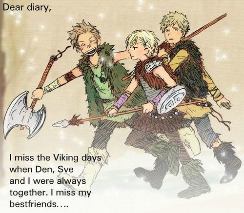 Denmark, Sweden, and Norway were some of the major countries involved in the Viking age. Many viking settlements were in these three countries. (The characters in this picture are the human personifications of Denmark, Norway, and Sweden (in that order), and they were created by Hidekaz Himaruya.