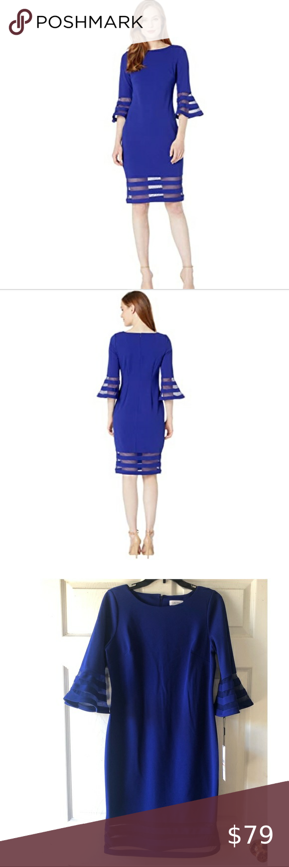 Nwt Calvin Klein Illusion Blue Bell Sleeve Dress In 2020 Blue Bell Sleeve Dress Bell Sleeve Dress Dresses With Sleeves