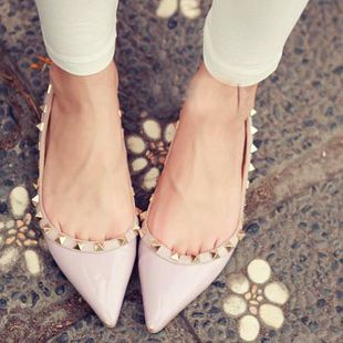 Free shipping 2013 rivet candy color japanned leather toe pointed shallow mouth flat shoes heel women's flats $16.25