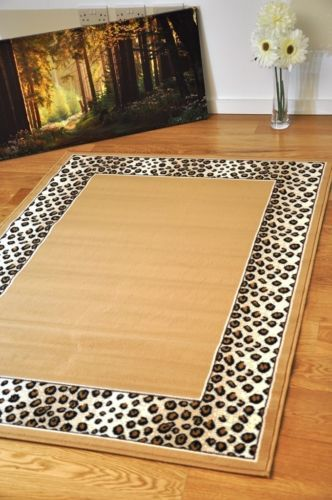 Beige Brown Leopard Modern Area Rugs Small Extra Large Animal Print