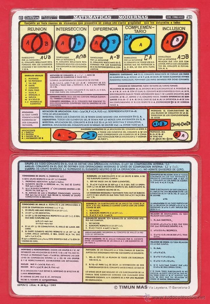 Formulario chuleta n 33 matematicas modernas ficha plastico formulario chuleta n 33 matematicas modernas ficha plastico distein timun mas ao 1969 foto 1 urtaz Images