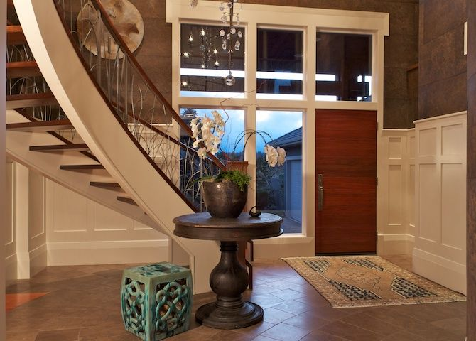 Entry Foyer Wallpaper : Entry foyer stairs curve stone tile wallpaper table