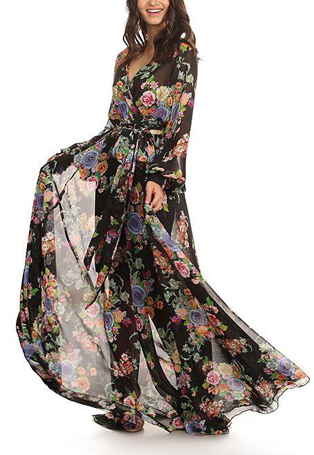 Black & Green Floral Maxi Dress - Plus Too