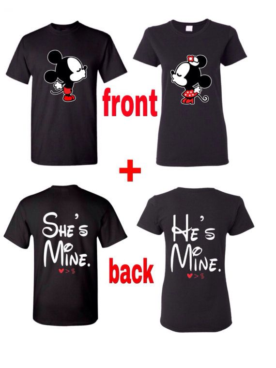 af91cb0e Im hers and Hes Mine Couples Disney Inspired T-shirt • Handmade • Men Size:  S-XL and Women Size: S-XL • Gildan 100% cotton t-shirts used (Please