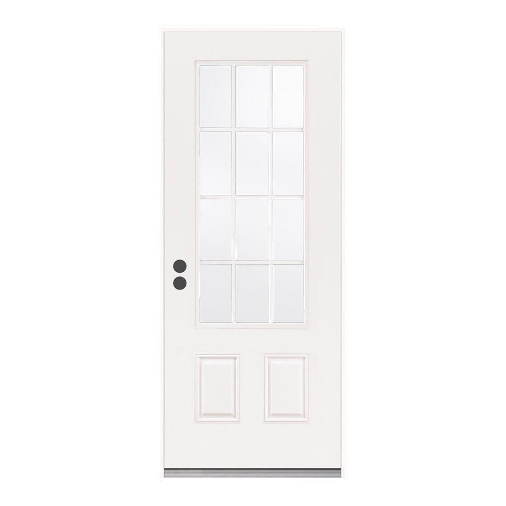 Jeld Wen 36 In X 80 In 12 Lite Primed Steel Prehung Right Hand Inswing Back Door Thdjw190900028 The Home Depot Steel Entry Doors Front Door Home
