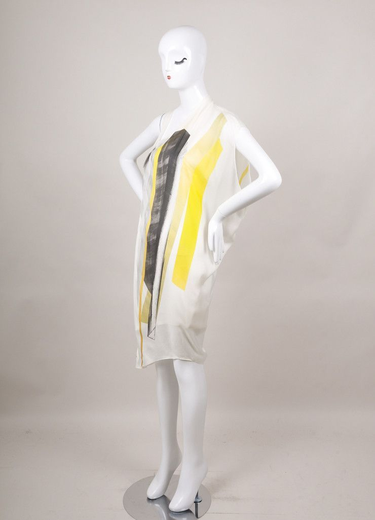 New With Tags Cream, Grey, and Yellow Asymmetric Sleeveless Silk Dress
