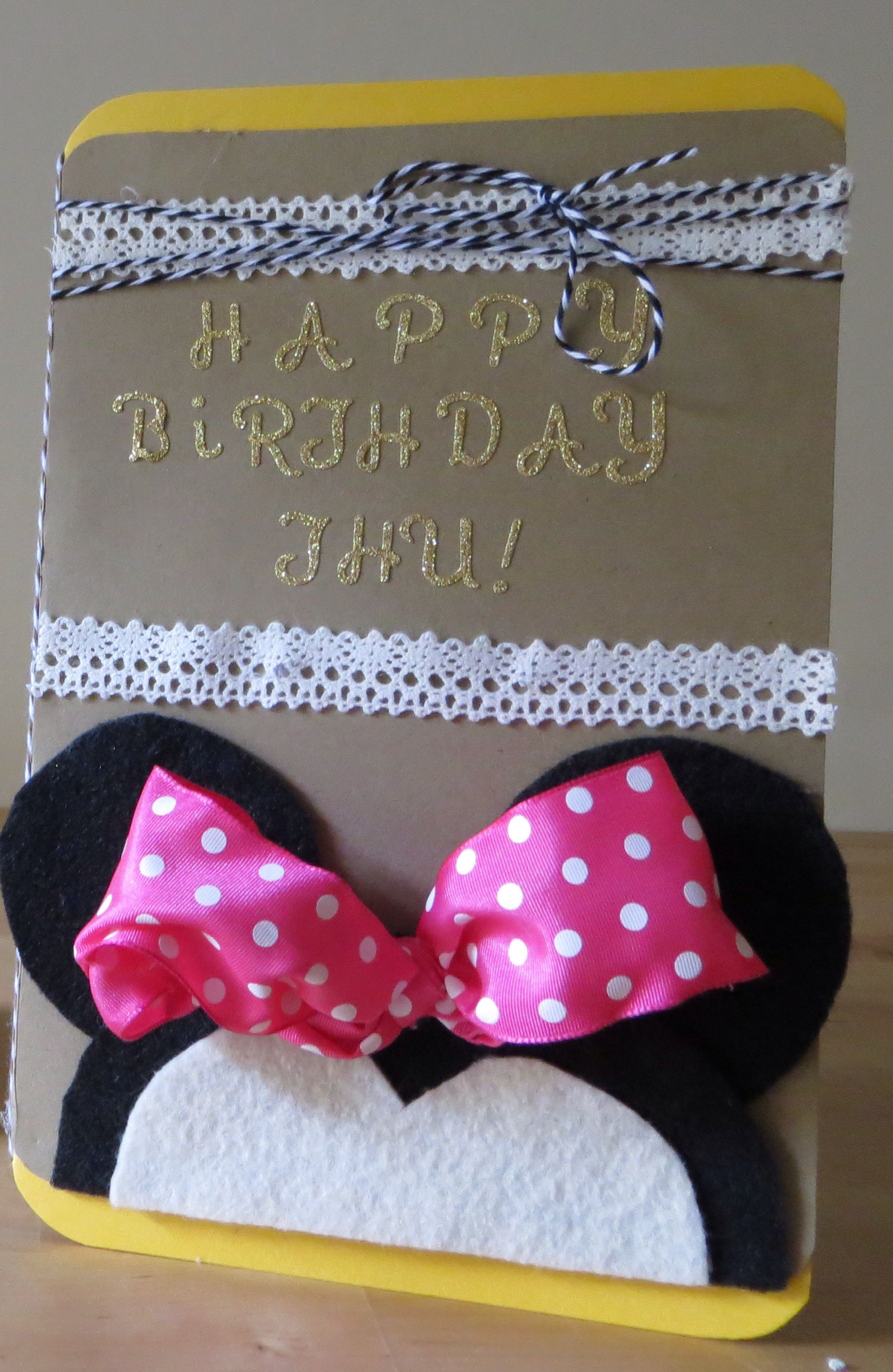 Minnie mouse greeting card made with felt and ribbon card ideas