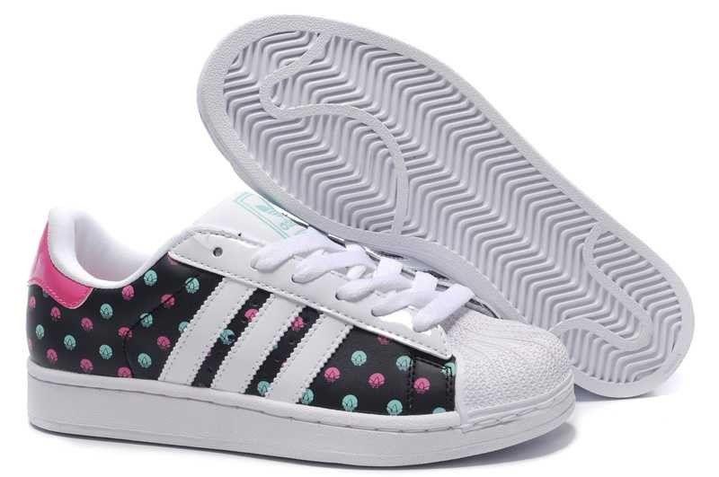 ea1ce0add81 (FRTlQ) Adidas Superstar 2 Color Dots Chaussures Running Pour Femme Blanc  Noir Rouge