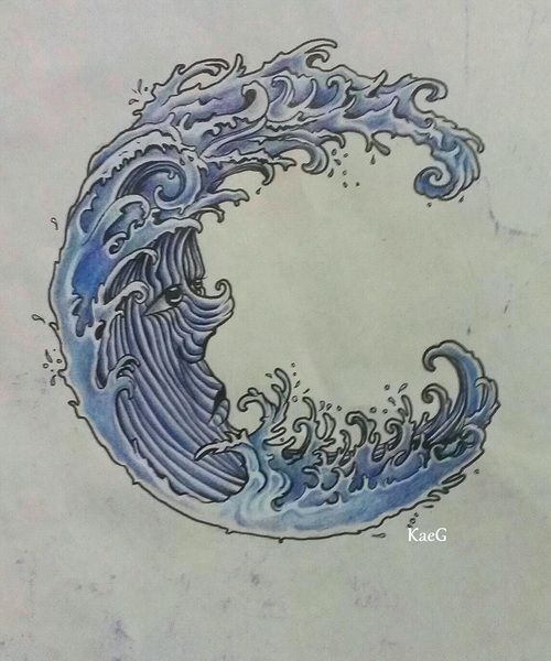 Love how it's a wave and a crescent moon. Not sure about the face but still a cool idea for a tattoo.