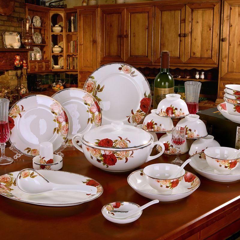 Dinnerware Sets Dinner Plate Bone China Jingdezhen Ceramic Tableware Set 60 Heads Bowl Luxury Gift Porcelaine