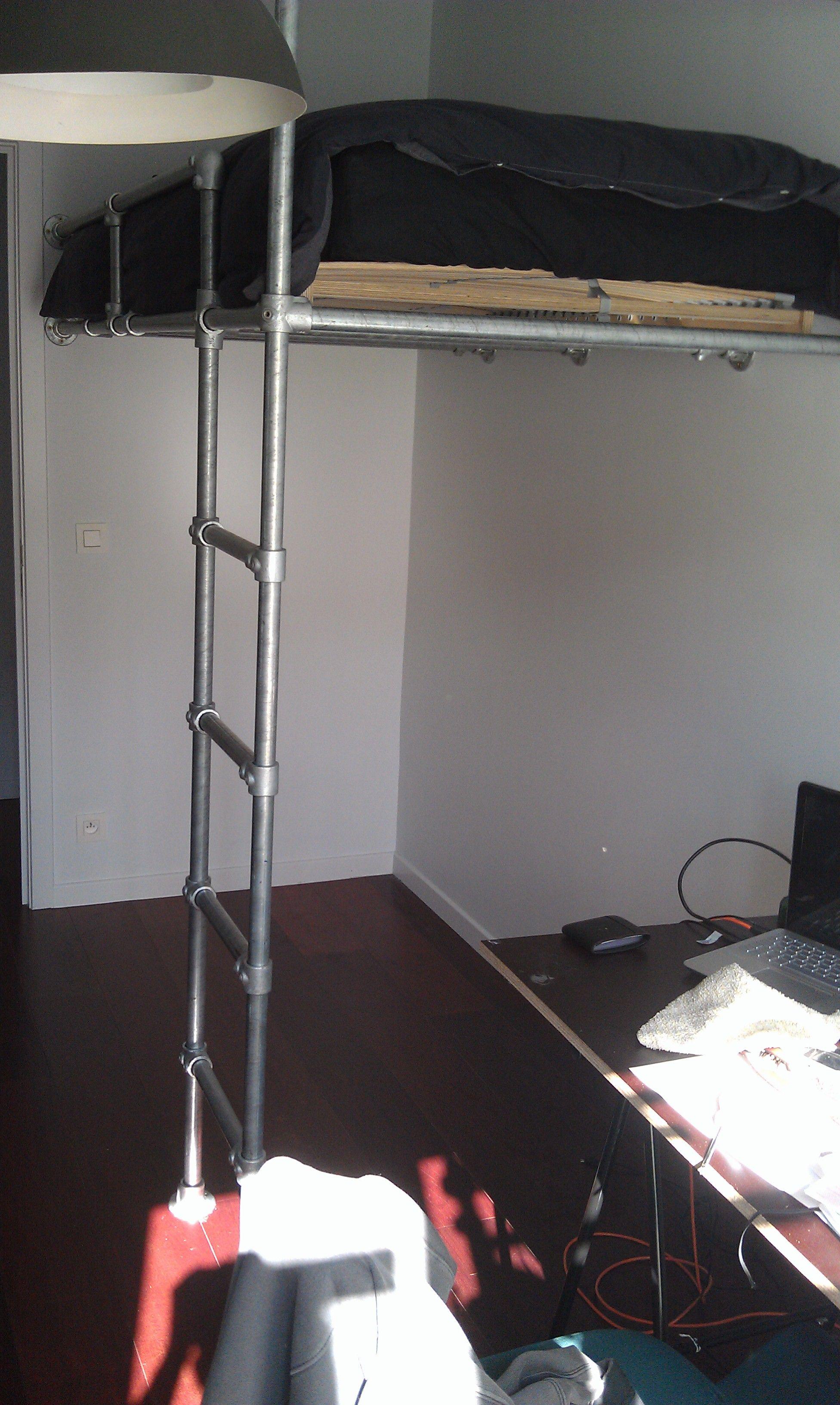 Boys loft bed with desk  My Kee Klamp bunk bed Work in progress  Loft bed in progress
