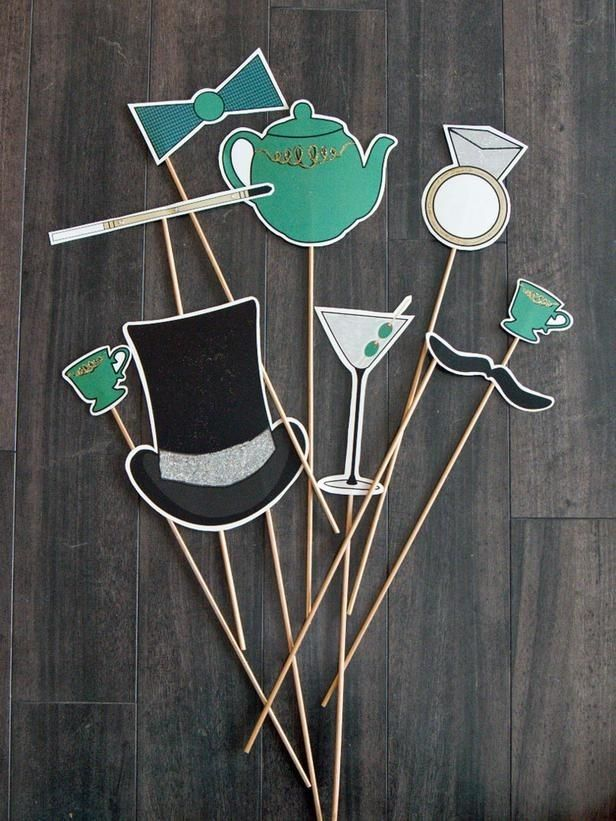 wedding photo booth props printable%0A printable new years      stick photo booth props  hat  bow ties and kettle