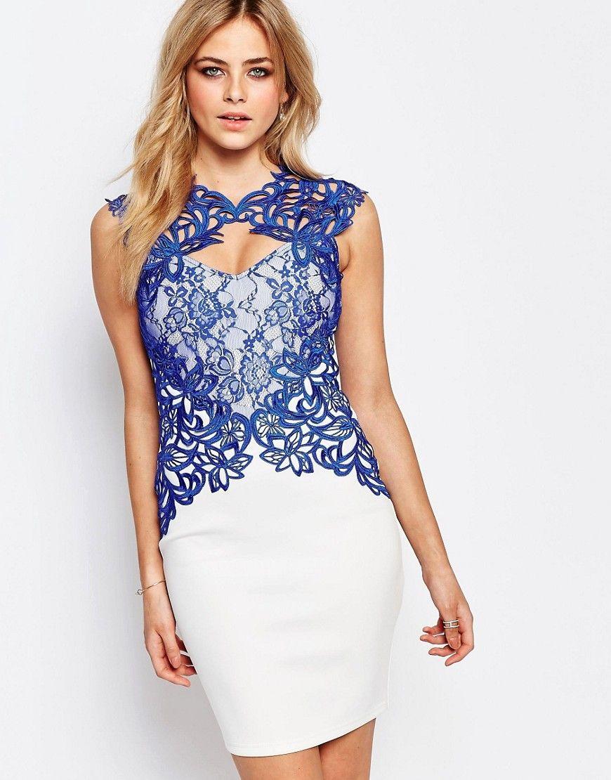 Lipsy Lace Detail Bodycon Midi Dress at asos.com  Midi dress