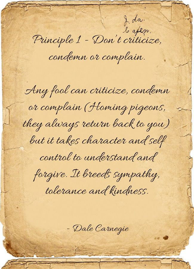 Principle 1 Dont Criticize Condemn Or Complain Any Fool Can