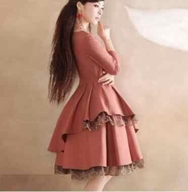 2019 sommer Herbst Hülse Mit Drei Vierteln Kleid V-ausschnitt 2 Farbe A-line Kleid Elegante Plus Größe S-XXXL frauen Dünnes Kleid