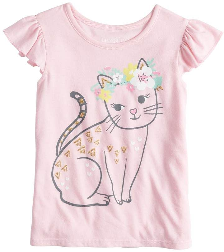 744420fbd5d Toddler Girl Jumping Beans Flutter Sleeve Cat with Floral Crown Graphic Tank