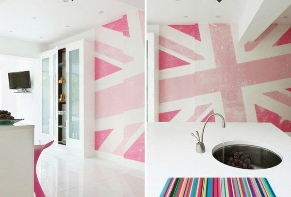 Pink Union Jack wall. I love this. So pretty and girly.