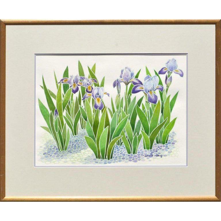 David Wang Purple Irises Watercolor Flowers by David Wang Circa 1990