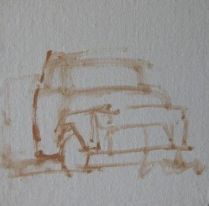 Preliminary Drawing for an oil painting  http://www.artworkshopsonline.com/2012/02/20/preliminary-drawing-technique-for-an-oil-painting/truck-drawing/