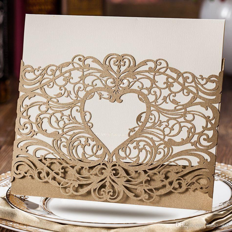 Wedding Invitations Laser Cut Heart Shape Free Customized Printing