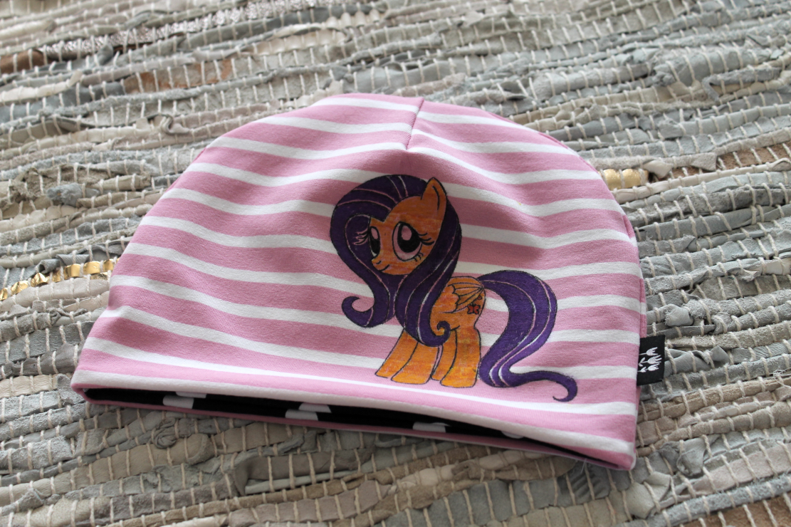 hand drawn with fabric pens, my little pony beanie