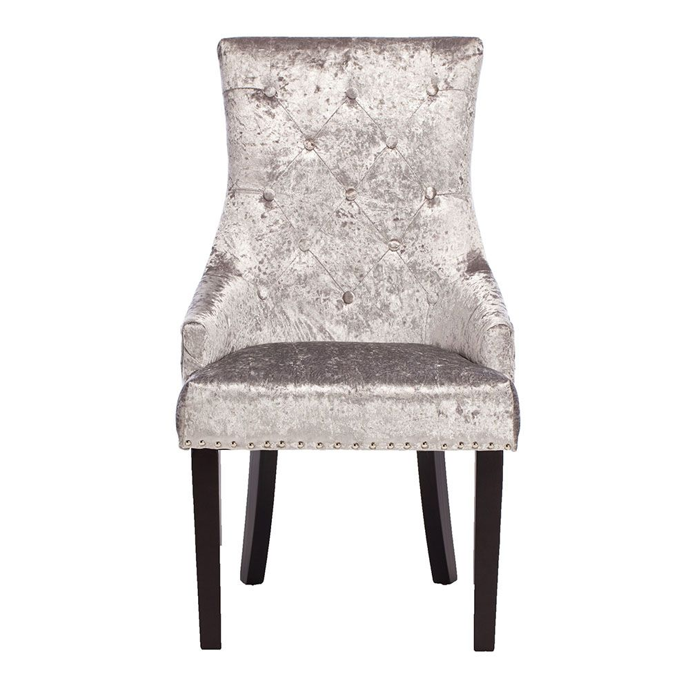 Melia Crushed Velvet Dining Chair Silver