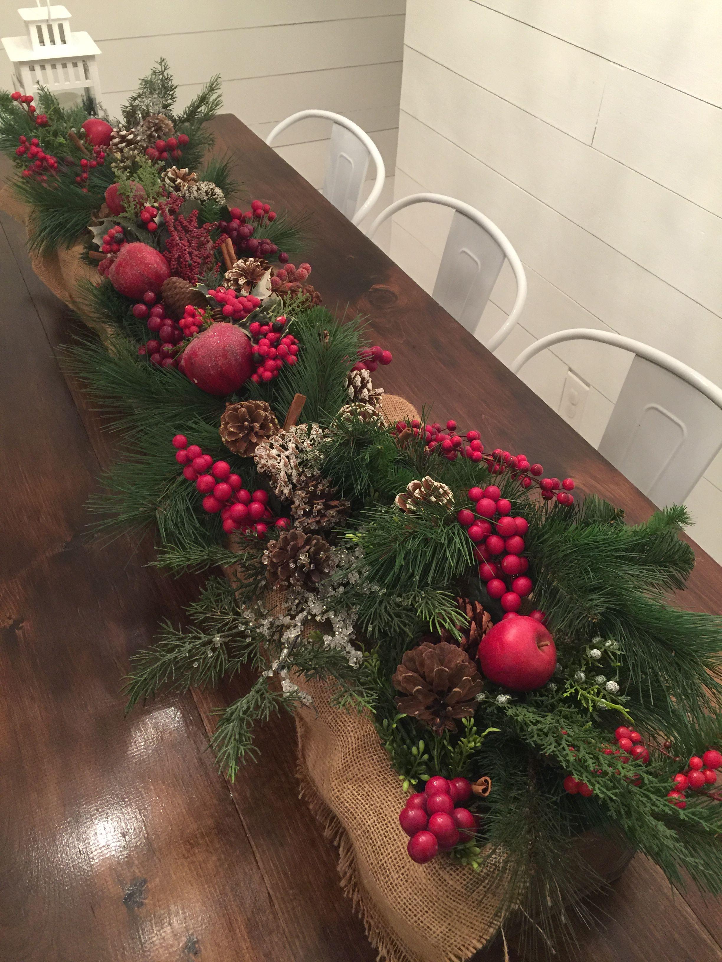 Wooden Box Christmas Centerpiece With Burlap Berries Pine Cones Apples Cinnamon St Christmas Centerpieces Christmas Decorations Christmas Table Decorations