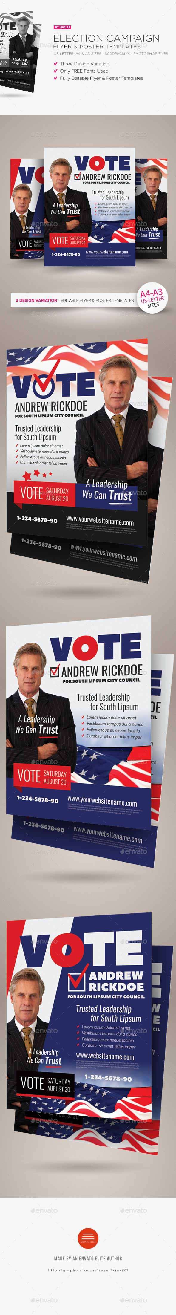 Election Campaign Flyer or Poster Templates