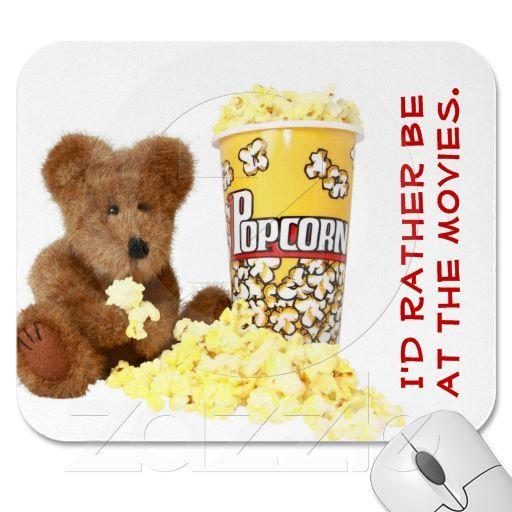 Popcorn Bear Mousepad $12.80 http://www.zazzle.com/popcorn_bear_mousepad-144917698531095297 #mousepad #teddybear #popcorn #movies