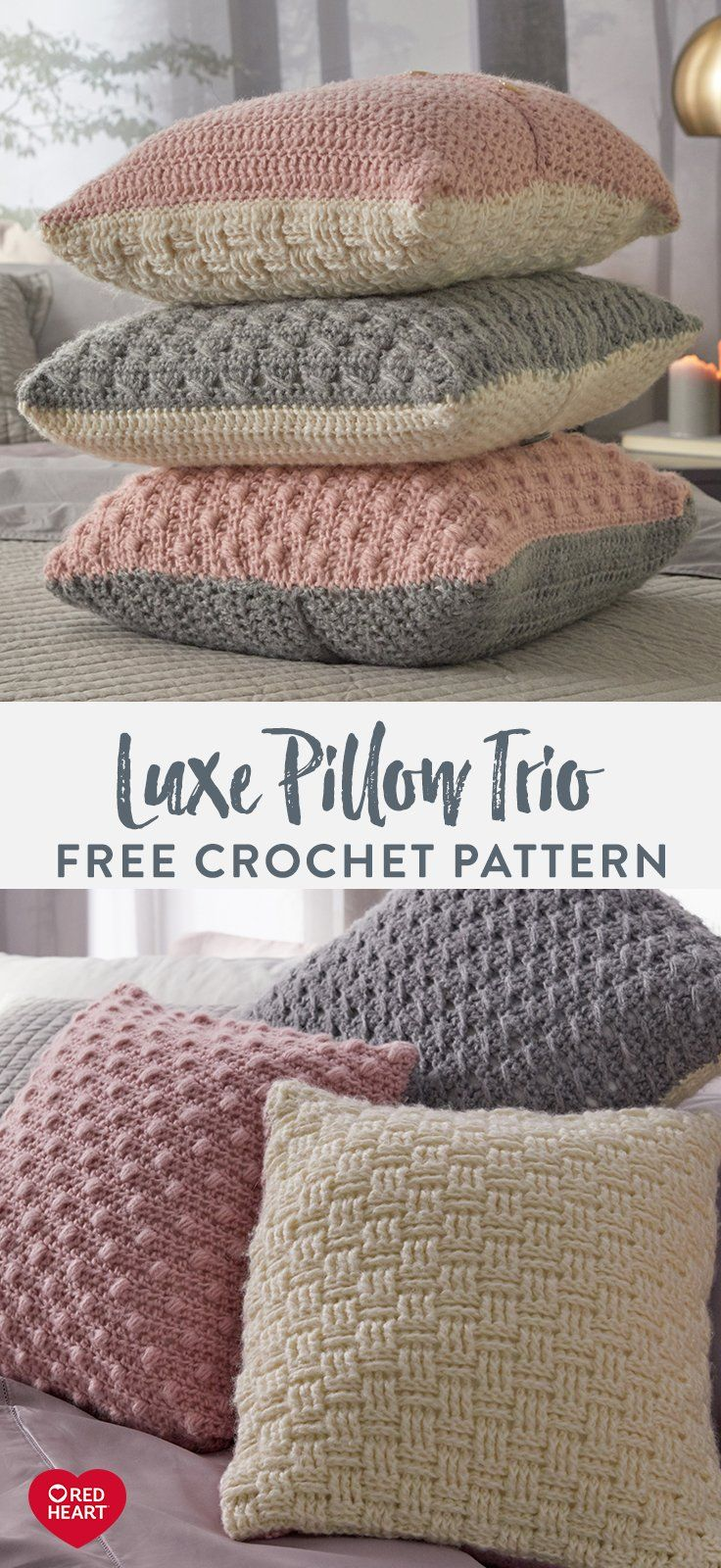 Photo of Luxe Pillow Trio free crochet pattern in Red Heart Dreamy yarn. This soft, brush…