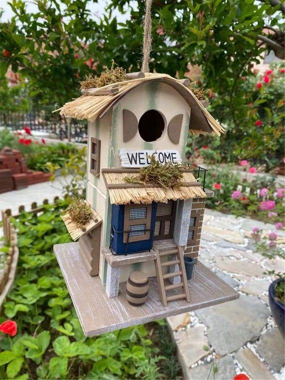 Retro Wood Bird Feeder Garden Hanging Vintage Bird House Nature Lovers Gifts Outdoor Patio Decor