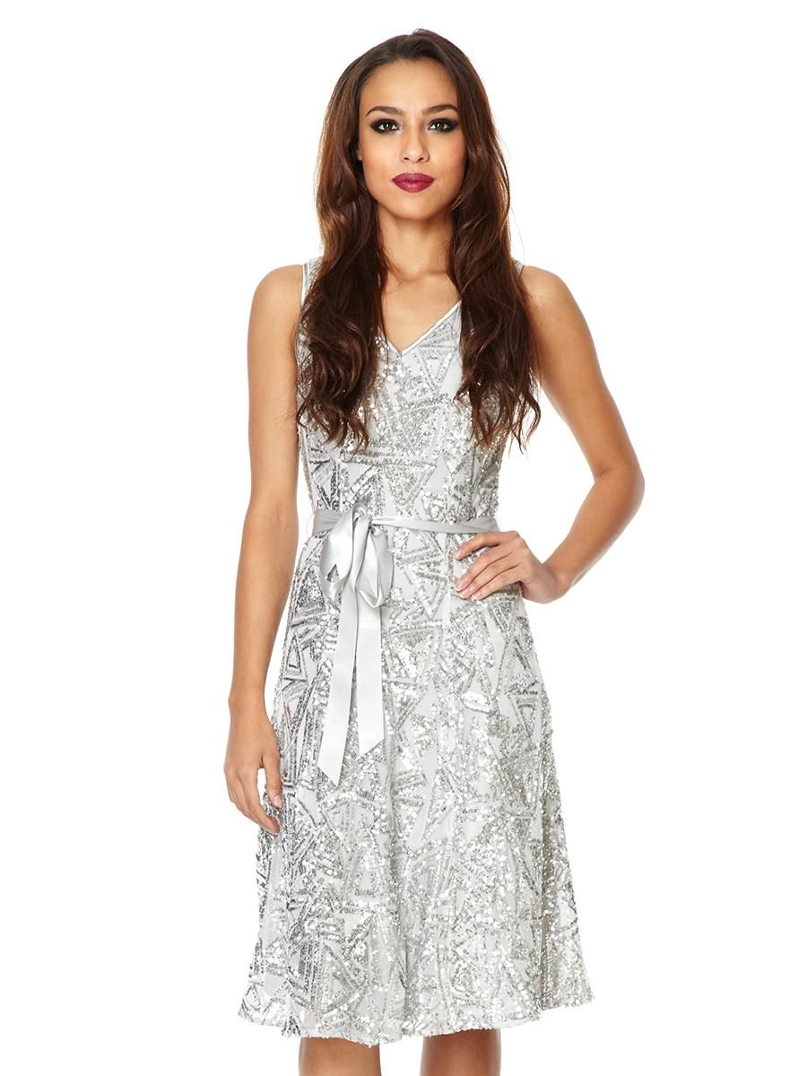 Quiz lace dress  Silver Sequin Ribbed Embellished Dress  Quiz Clothing  Dress