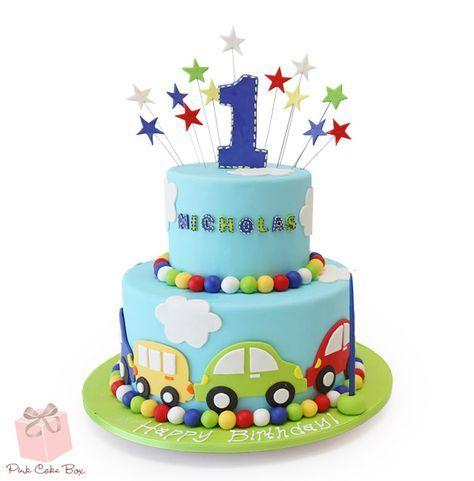 Aryans First Birthday Cake Birthday Cakes Birthday cakes Car