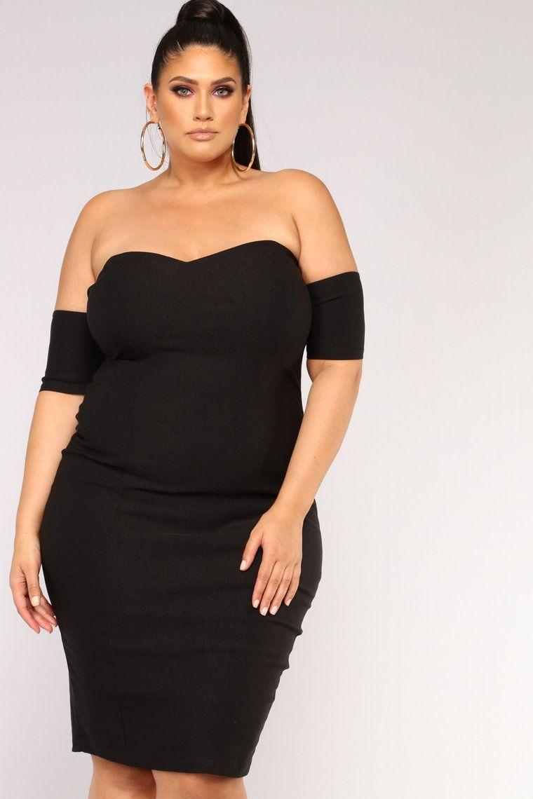 One In A Million Off Shoulder Dress Black Fashion nova