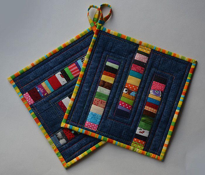 Topflappen - Blau-bunte Patchwork-Topflappen Streifen - ein Designerstück von patch_sign bei DaWanda #tischsetnähen