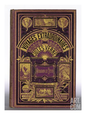 Book Cover of the French edition of Voyages Extraordinaires with Cover Design Deux Eléphants Giclee Print at Art.co.uk