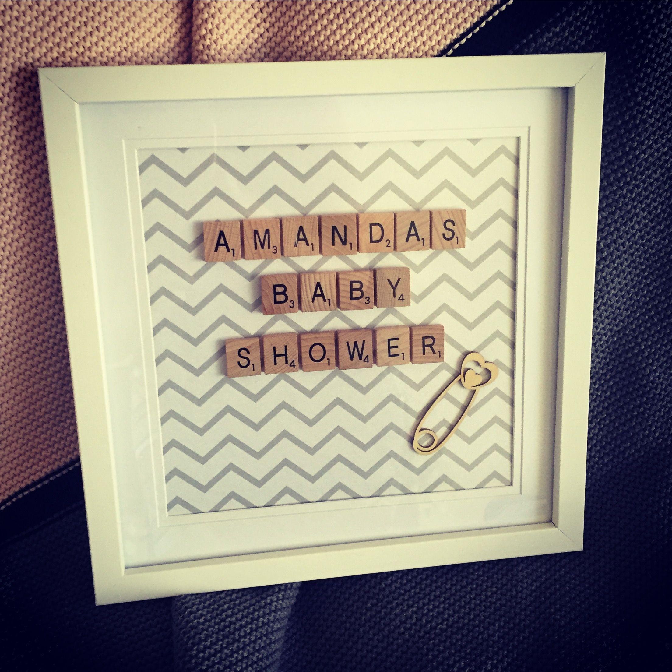 Baby Shower Frame Gift Idea, Baby Shower, Grey Chevron , Scrabble ...