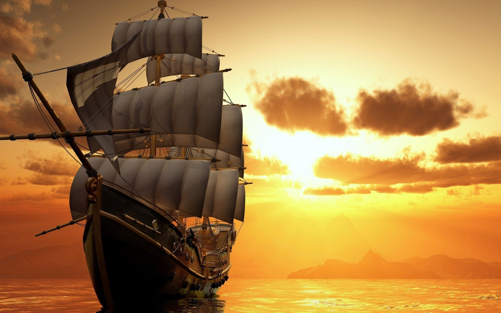 Vehicles Sailing Ship Cloud Landscape Ocean Sea Sunset Sailboat Wallpaper In 2020 Sailing Sailing Ships Sea And Ocean