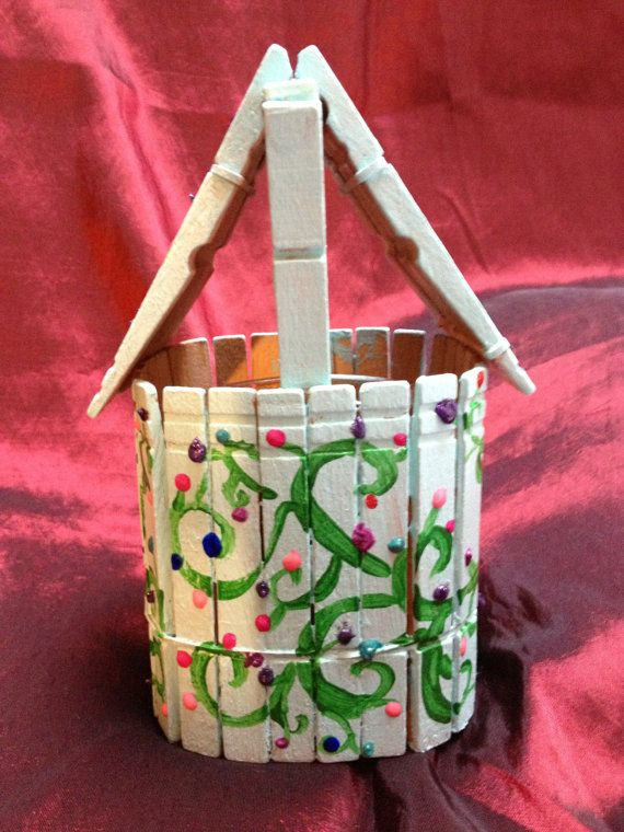 Hand Painted Clothes Pin Wishing Well by ReprievesCorner on Etsy, $6.99