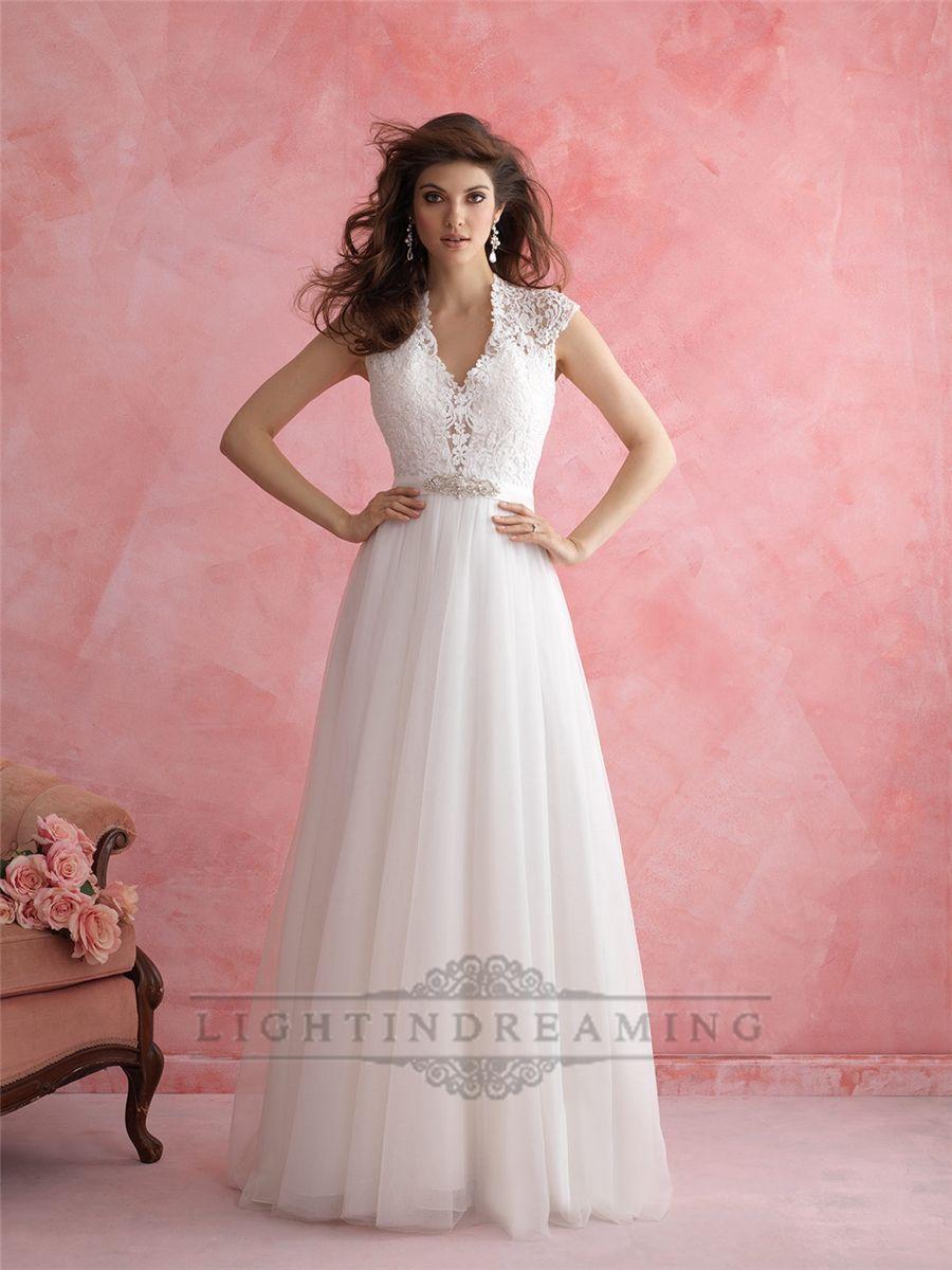 Cap Sleeves V-neck Wedding Dress with Keyhole Back | Vestidos de ...