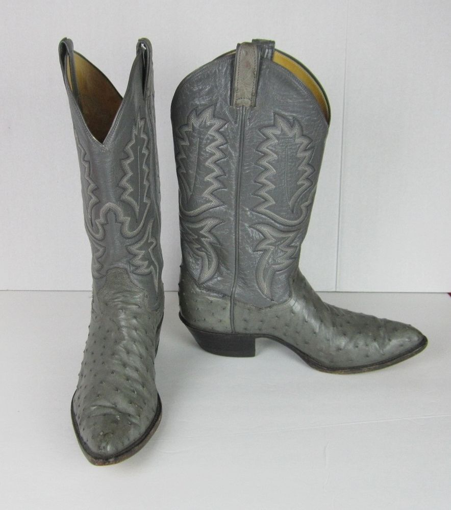 c5b5be7844a Panhandle Slim Mens Gray Ostrich Western Boots Men's Size 8 1/2 ...