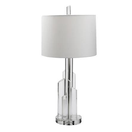 Tower Lamp White Linen Crystal For Understated Elegance Dwellstudio Lamp Dwell Studio Art Deco Lighting
