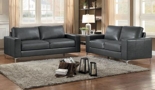 2 PC Homelegance Iniko Grey Leather Gel Match Sofa U0026 Loveseat Set 8203GY