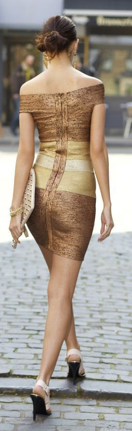 Chic Off Shoulder Bodycon Gold Dress - Street Styles