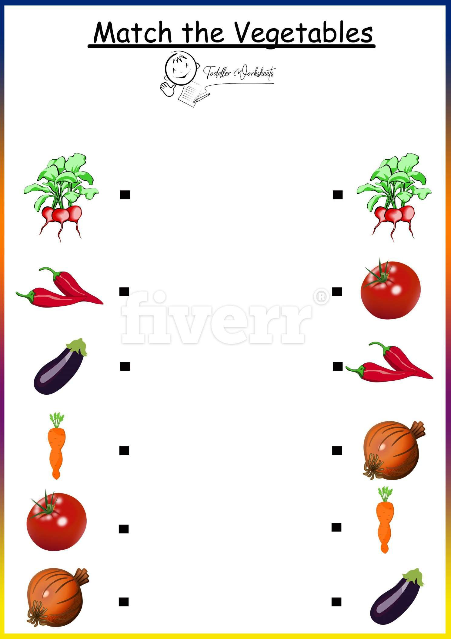 8 Vegetables Worksheet For Preschool